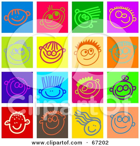 Royalty-Free (RF) Clipart Illustration of a Digital Collage of Colorful Happy Face Tiles by Prawny