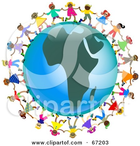 Royalty-Free (RF) Clipart Illustration of Global Kids Holding Hands Around An Africa Globe by Prawny