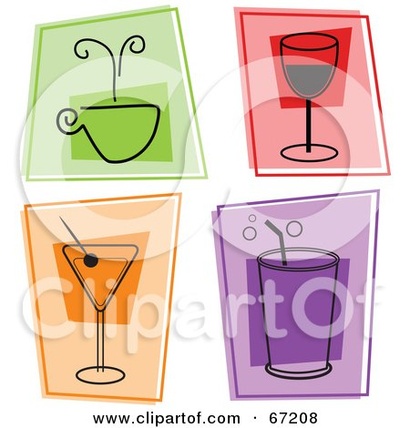 Royalty-Free (RF) Clipart Illustration of a Digital Collage Of Colorful Beverage Squares by Prawny