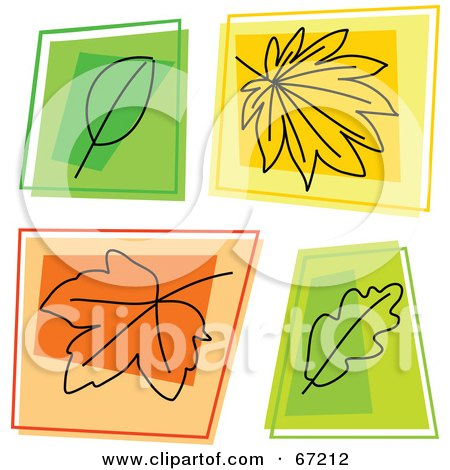 Royalty-Free (RF) Clipart Illustration of a Digital Collage Of Colorful Autumn Leaf Squares by Prawny