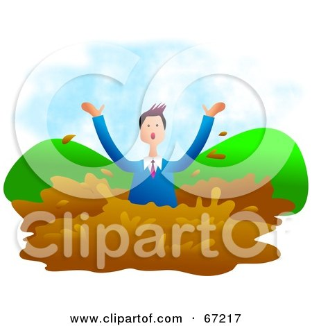 Royalty-Free (RF) Clipart Illustration of a Businessman Drowning In Mud by Prawny
