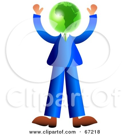 Royalty-Free (RF) Clipart Illustration of a Businessman With A Green Globe Head by Prawny