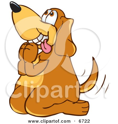 Brown Dog Mascot Cartoon Character Begging For a Walk or Treats Clipart Picture by Toons4Biz
