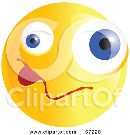 Royalty-Free (RF) Clipart Illustration of a Yellow Confused Emoticon Face - Version 3 by Prawny