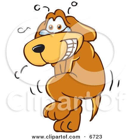 Brown Dog Mascot Cartoon Character Trying to Hold it in, But Has to go Pee Clipart Picture by Toons4Biz