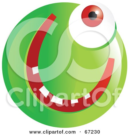 Royalty-Free (RF) Clipart Illustration of a Green Cyclops Emoticon Face by Prawny