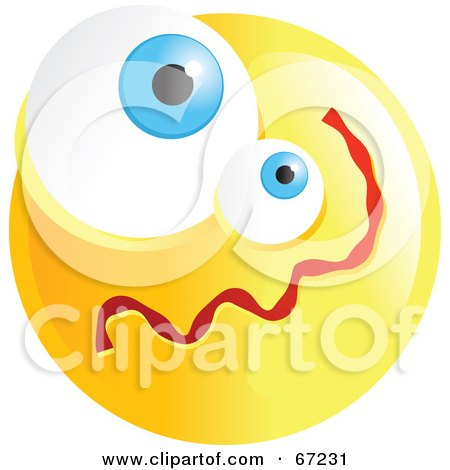 Royalty-Free (RF) Clipart Illustration of a Yellow Confused Emoticon Face - Version 1 by Prawny