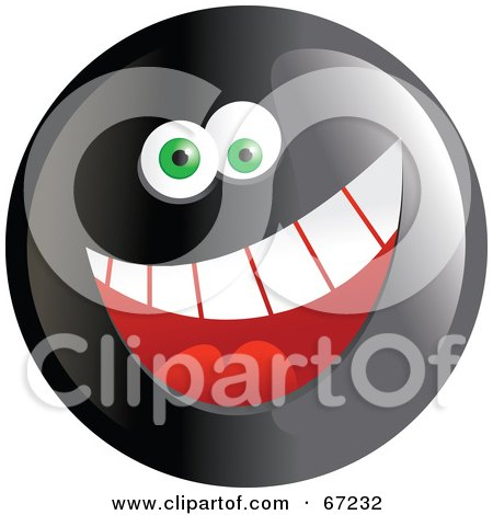 Royalty-Free (RF) Clipart Illustration of a Black Happy Smiley Face - Version 1 by Prawny