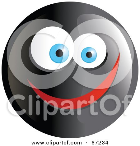 Royalty-Free (RF) Clipart Illustration of a Black Happy Smiley Face - Version 4 by Prawny