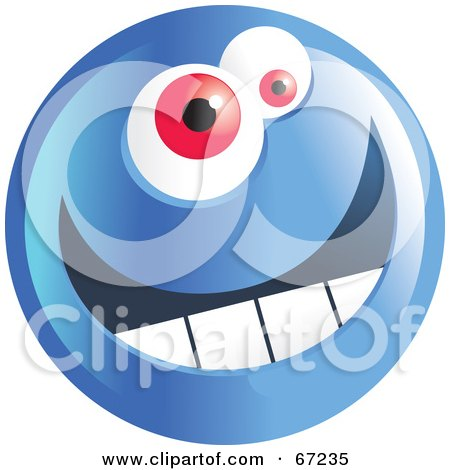 Royalty-Free (RF) Clipart Illustration of a Happy Blue Emoticon Face Smiley by Prawny
