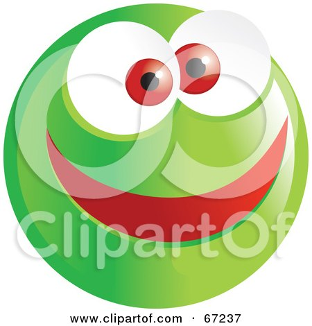 Royalty-Free (RF) Clipart Illustration of a Happy Green Emoticon Face Smiley by Prawny
