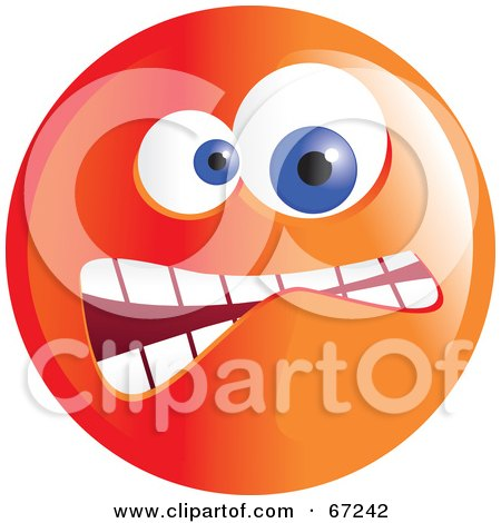 Royalty-Free (RF) Clipart Illustration of a Crazy Mad Orange Emoticon Face - Version 3 by Prawny