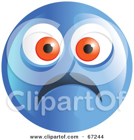 Royalty-Free (RF) Clipart Illustration of a Scared Blue Emoticon Face - Version 1 by Prawny