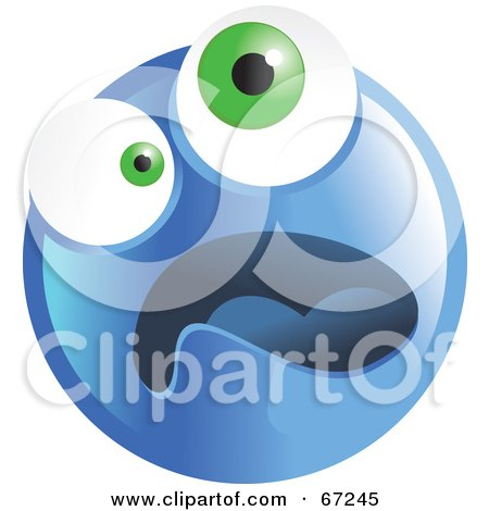 Royalty-Free (RF) Clipart Illustration of a Scared Blue Emoticon Face - Version 4 by Prawny