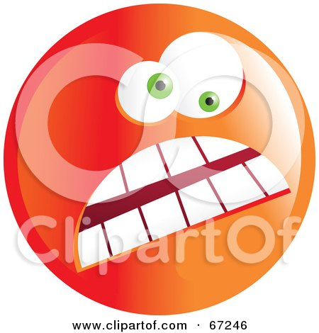 Royalty-Free (RF) Clipart Illustration of a Crazy Mad Orange Emoticon Face - Version 2 by Prawny