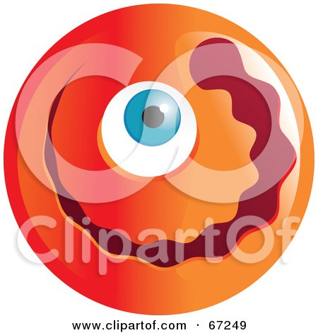 Royalty-Free (RF) Clipart Illustration of an Orange Cyclops Emoticon Face by Prawny