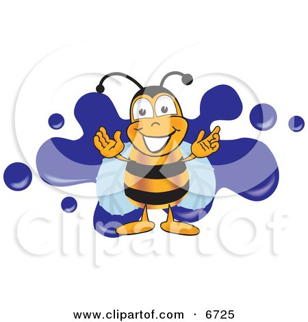 Clipart Picture of a Bee Mascot Cartoon Character Logo With a Blue Paint Splat by Toons4Biz
