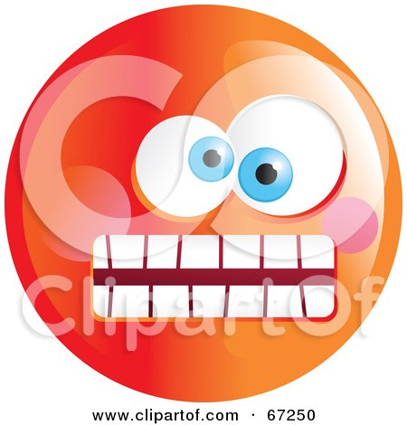 Royalty-Free (RF) Clipart Illustration of a Crazy Mad Orange Emoticon Face - Version 1 by Prawny