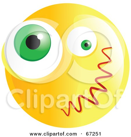 Royalty-Free (RF) Clipart Illustration of a Yellow Confused Emoticon Face - Version 4 by Prawny