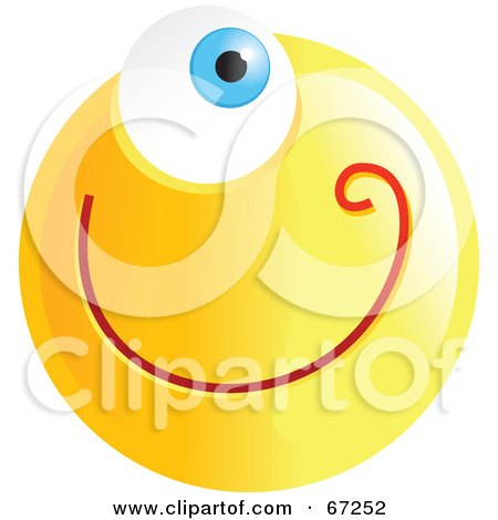 Royalty-Free (RF) Clipart Illustration of a Yellow Cyclops Emoticon Face by Prawny
