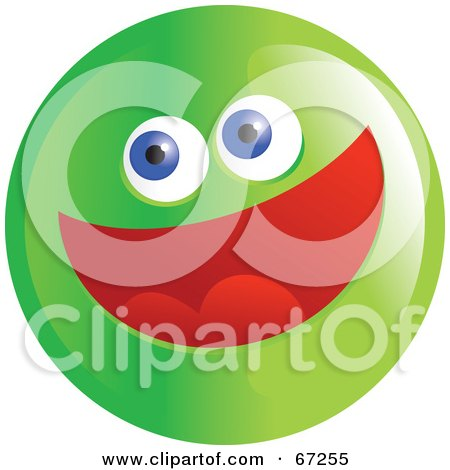 Royalty-Free (RF) Clipart Illustration of an Excited Green Emoticon Face - Version 3 by Prawny