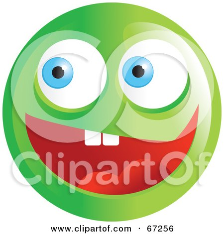 Royalty-Free (RF) Clipart Illustration of an Excited Green Emoticon Face - Version 1 by Prawny