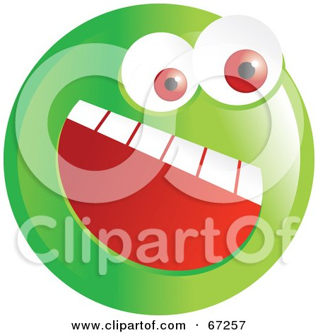 Royalty-Free (RF) Clipart Illustration of an Excited Green Emoticon Face - Version 2 by Prawny
