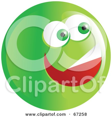 Royalty-Free (RF) Clipart Illustration of an Excited Green Emoticon Face - Version 4 by Prawny
