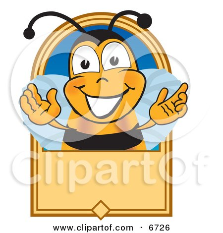 Clipart Picture of a Bee Mascot Cartoon Character on a Blank Tan Label by Toons4Biz