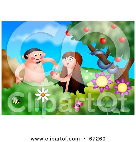 Royalty-Free (RF) Clipart Illustration of Adam And Eve Admiring Apples In The Garden Of Eden by Prawny