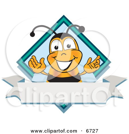 Clipart Picture of a Bee Mascot Cartoon Character on a Blank White Label by Toons4Biz