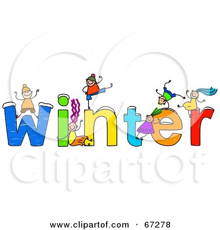 Royalty-Free (RF) Clipart Illustration of Children With WINTER Text by ...