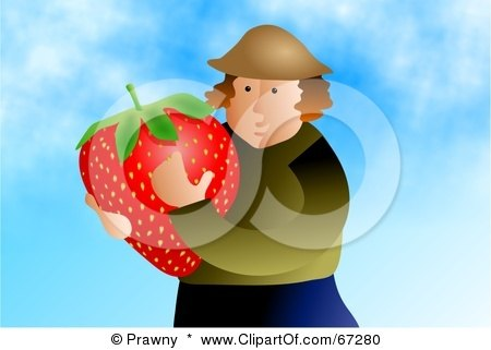Royalty-Free (RF) Clipart Illustration of a Strawberry Farmer Holding A Giant Berry by Prawny