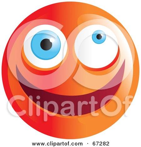 Royalty-Free (RF) Clipart Illustration of a Zany Orange Emoticon Face - Version 1 by Prawny