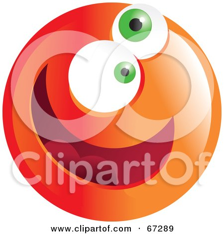 Royalty-Free (RF) Clipart Illustration of a Zany Orange Emoticon Face - Version 2 by Prawny