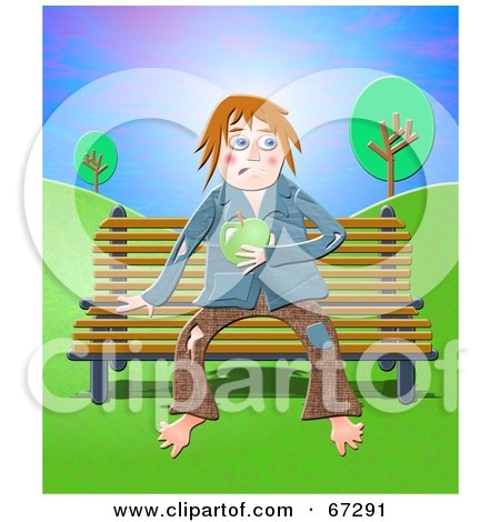 Homeless Tramp Holding An Apple And Sitting On A Bench Posters, Art Prints