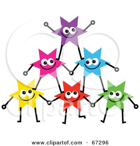 Royalty-Free (RF) Clipart Illustration of a Group Of Colorful Stars Forming A Pyramid - Version 1 by Prawny