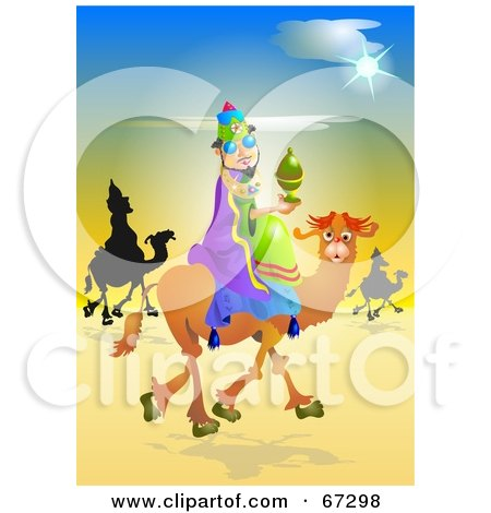 Royalty-Free (RF) Clipart Illustration of The Three Kings Trekking Through The Desert by Prawny