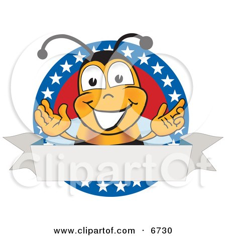 Clipart Picture of a Bee Mascot Cartoon Character With Stars on a Blank Label by Toons4Biz