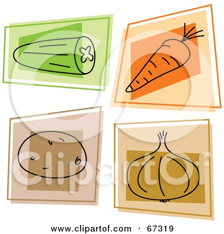 Royalty-Free (RF) Clipart Illustration of a Digital Collage Of Colorful Square Cucumber, Carrot, Potato And Onion Icons by Prawny