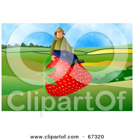 Royalty-Free (RF) Clipart Illustration of a Strawberry Farmer Sitting On A Giant Berry by Prawny