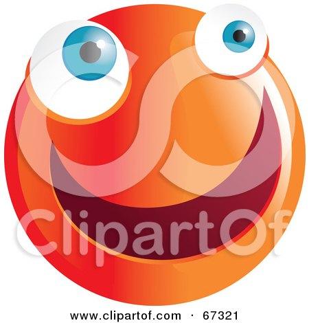 Royalty-Free (RF) Clipart Illustration of a Zany Orange Emoticon Face - Version 4 by Prawny