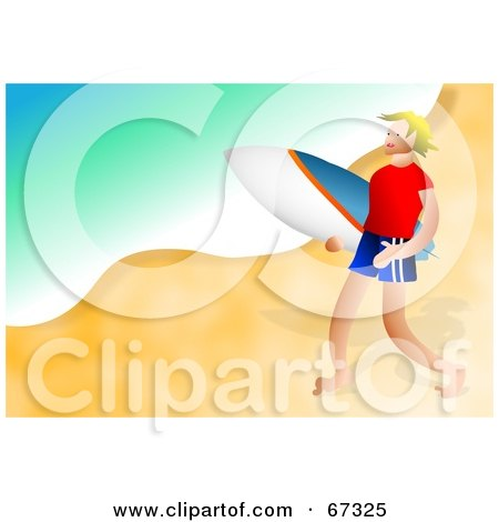 Royalty-Free (RF) Clipart Illustration of a Male Surfer Guy Happily Walking On A Beach by Prawny