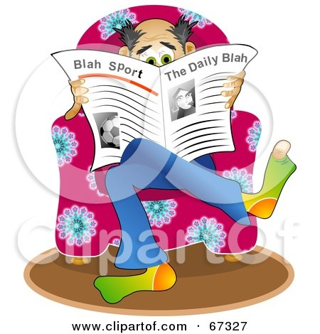 Royalty-Free (RF) Clipart Illustration of a Man Sitting In A Pink Chair And Reading The News by Prawny