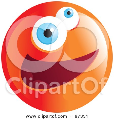 Royalty-Free (RF) Clipart Illustration of a Zany Orange Emoticon Face - Version 3 by Prawny