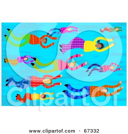 Royalty-Free (RF) Clipart Illustration of Men And Women Swimming With The Flow by Prawny