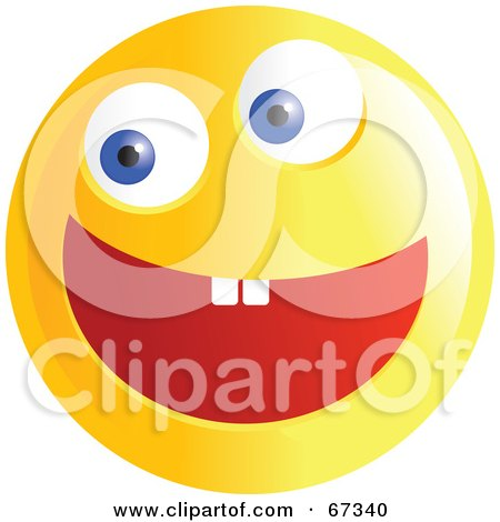 Royalty-Free (RF) Clipart Illustration of an Ecstatic Yellow Emoticon Face - Version 3 by Prawny