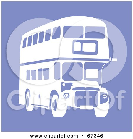 Royalty-Free (RF) Clipart Illustration of a White Double Decker Bus On Purple by Prawny