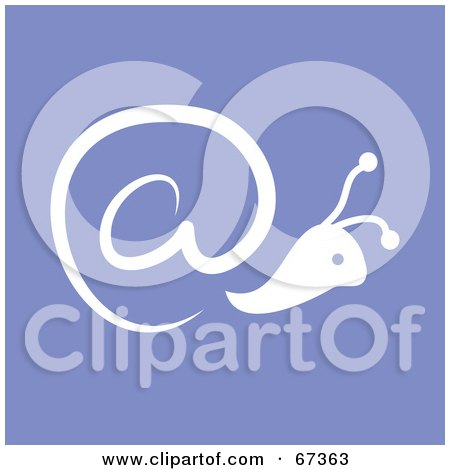 Royalty-Free (RF) Clipart Illustration of a White Arobase At Symbol Snail On Purple by Prawny