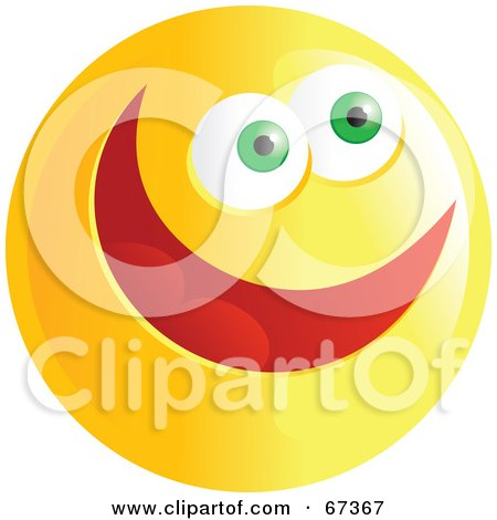 Royalty-Free (RF) Clipart Illustration of an Ecstatic Yellow Emoticon Face - Version 4 by Prawny